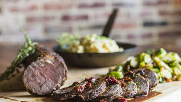 Recipe: Rosemary-Thyme Leg of Lamb with Creamy Southern Rutabaga Smash, Smoky Brussels