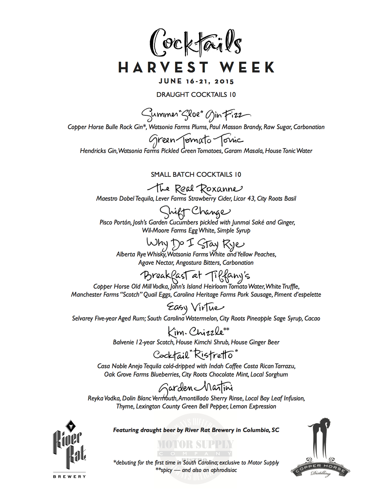 Motor Supply - Harvest Week 2015 Cocktail Menu