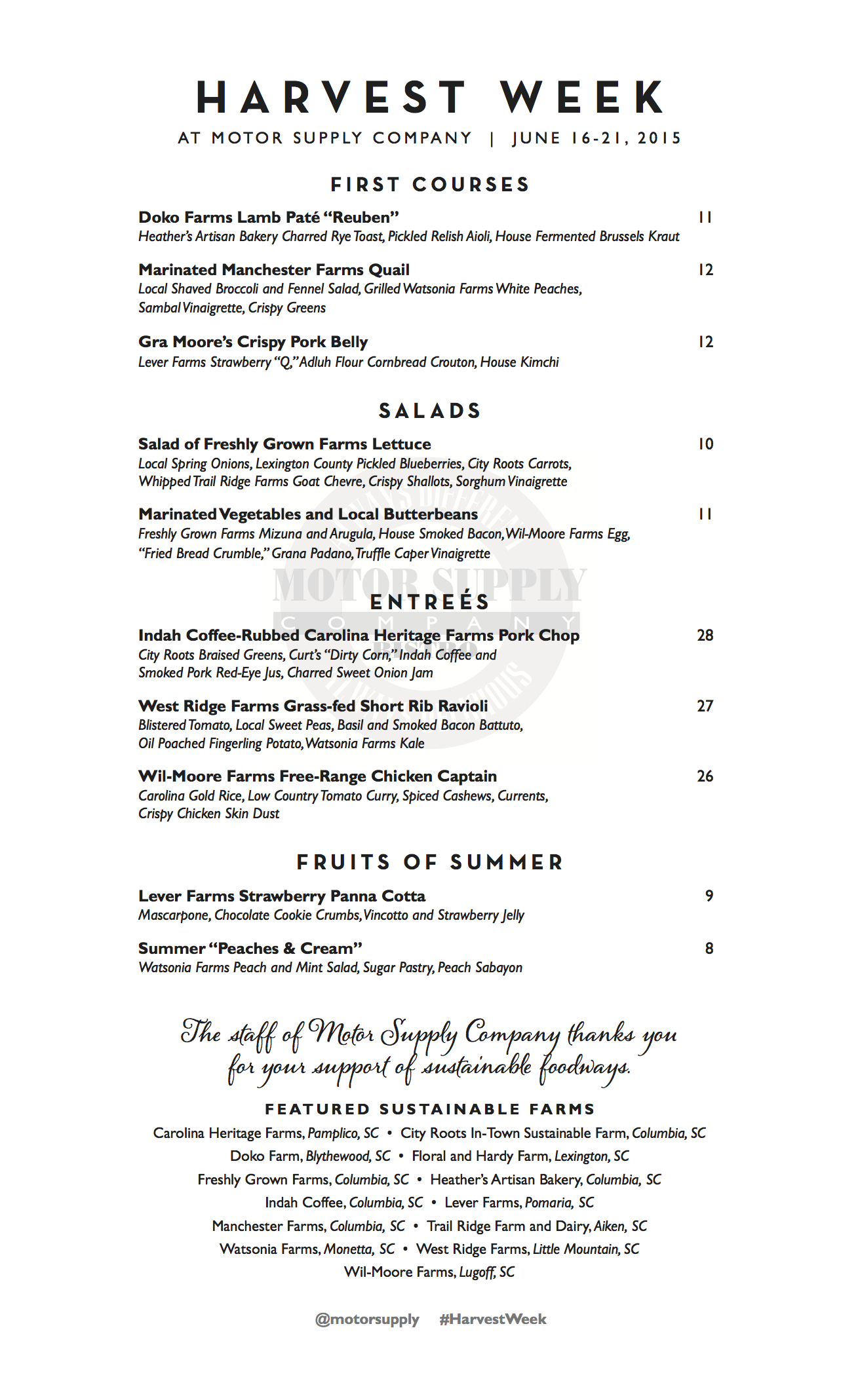 harvest week 2015 menus revealed motor supply co bistro