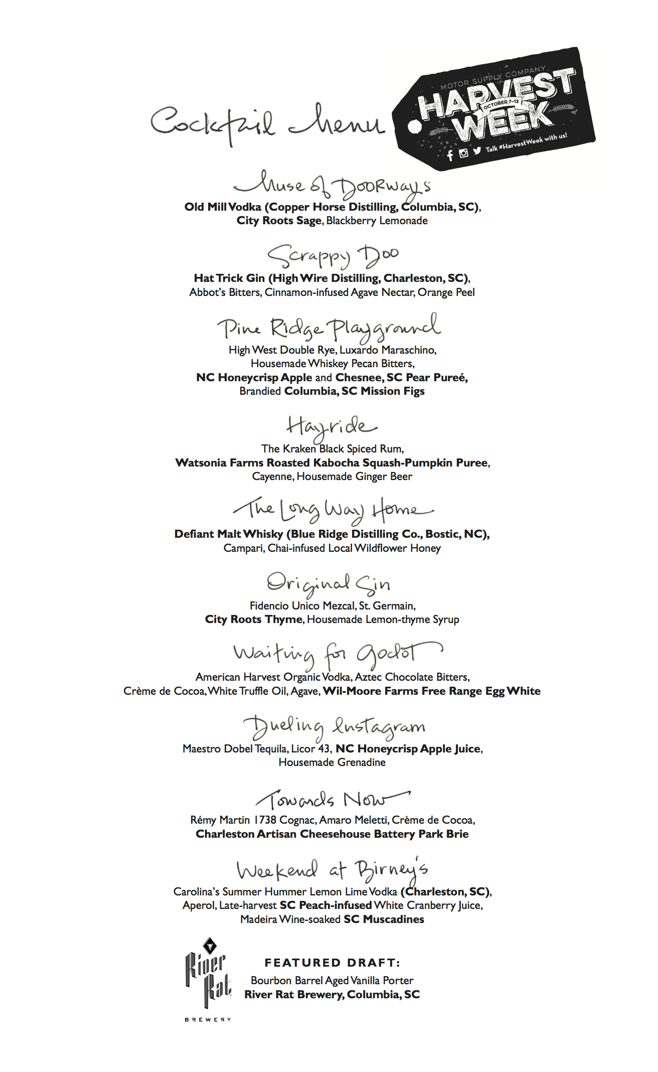 Harvest Week Cocktail Menu: Fall 2014 at Motor Supply Co. Bistro