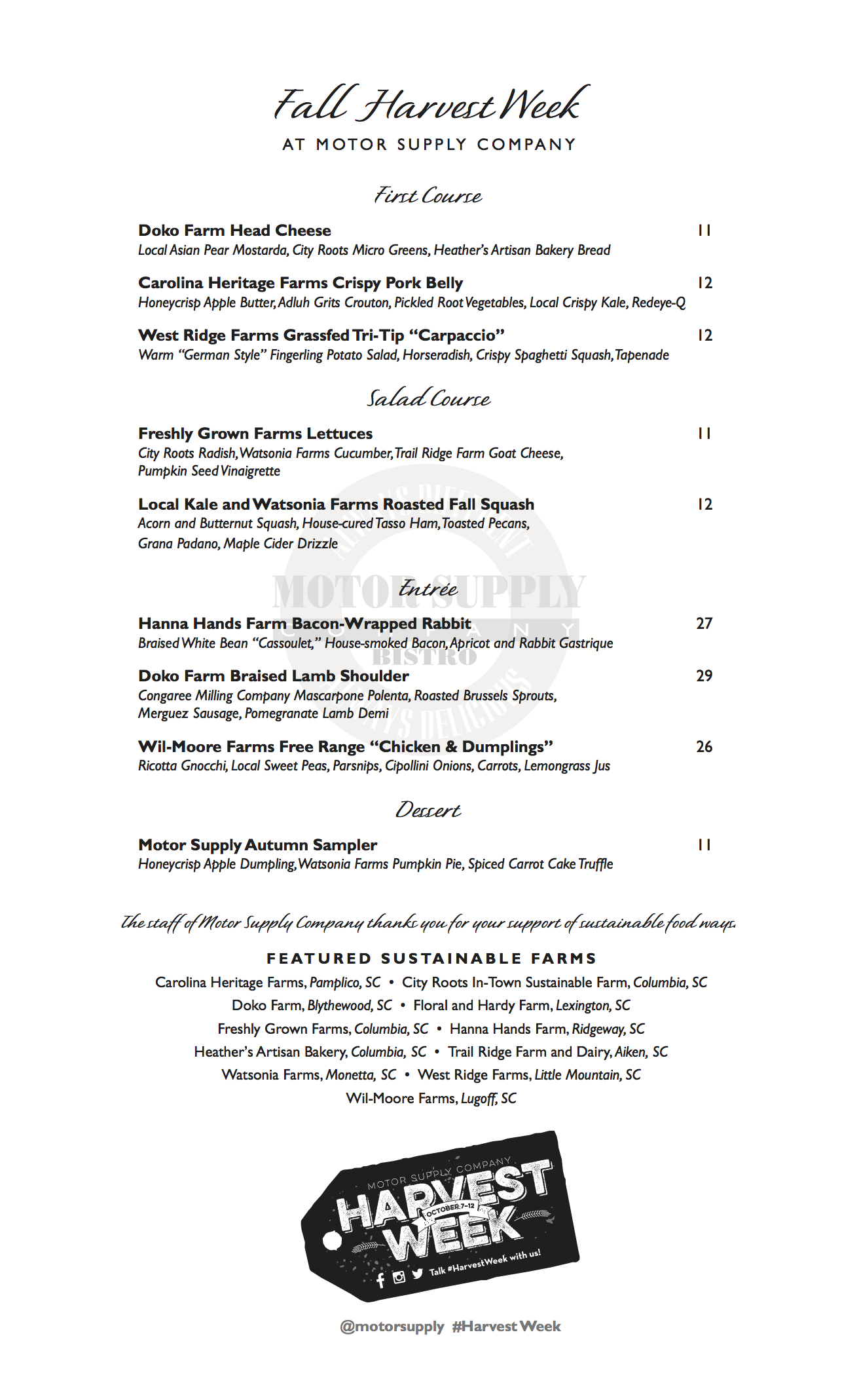 Harvest Week Dinner Menu: Fall 2014 at Motor Supply Co. Bistro