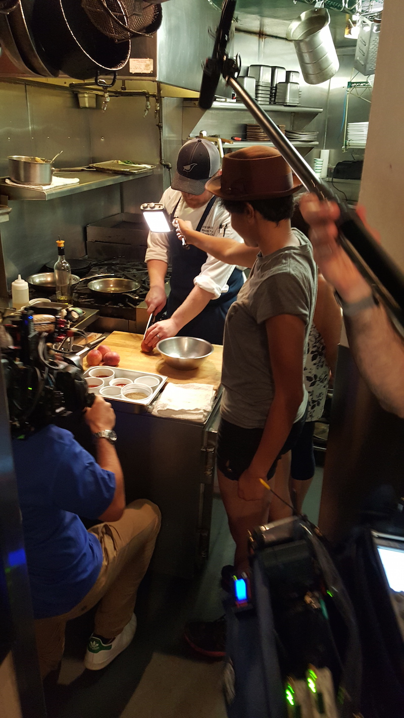 In the kitchen at Motor Supply with the crew of Jeni and Olly's Deep South Food Adventures