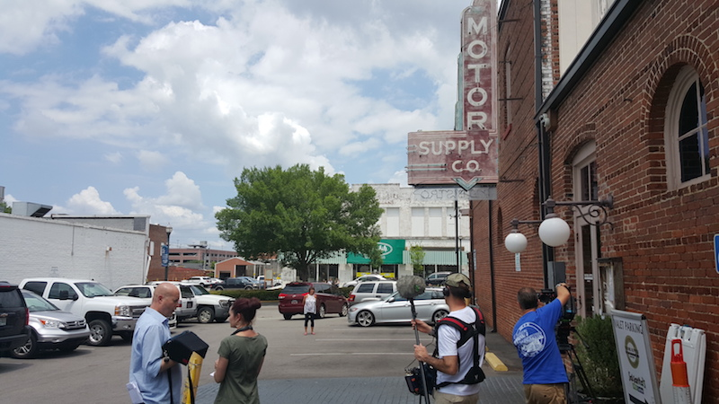 Jeni and Olly's Deep South Food Adventures filming at Motor Supply in Columbia, SC