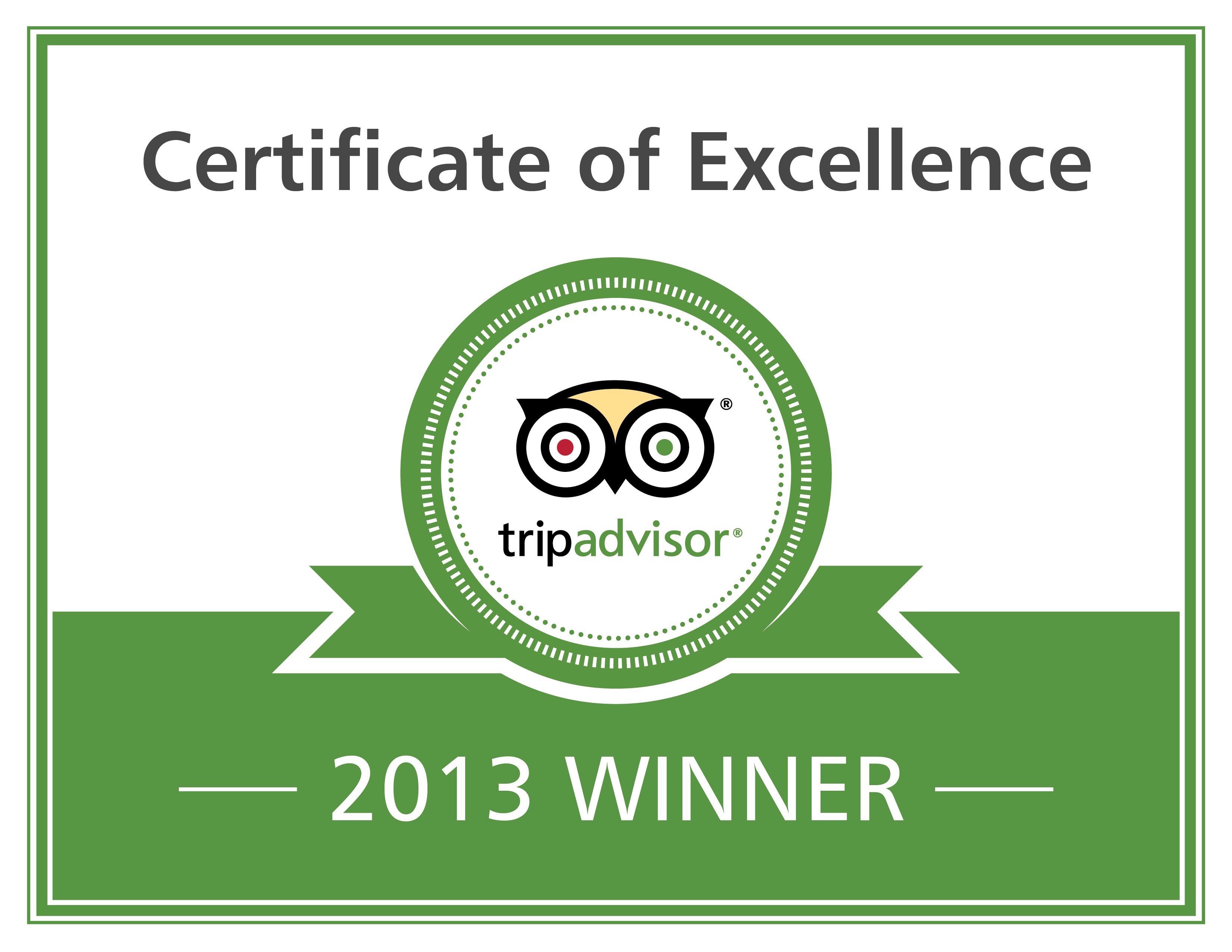 Trip Advisor Certificate of Excellence 2013 Winner
